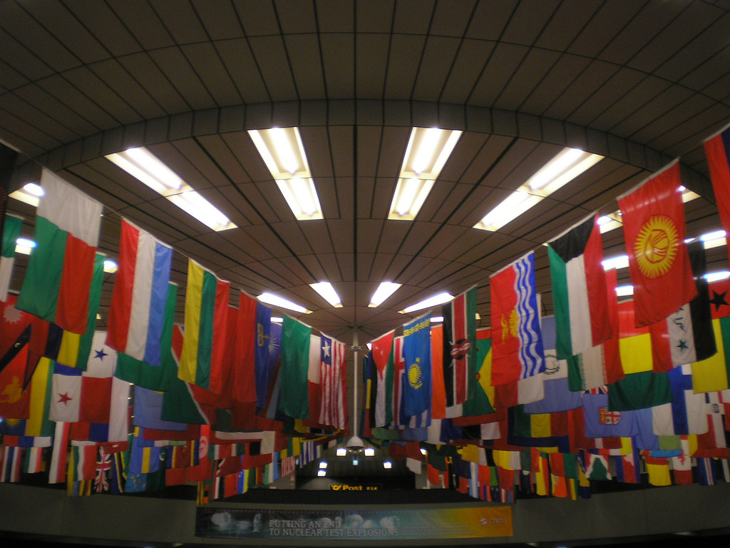 """Flags in the UN building"" by Ban All Nukes generation on Flickr."